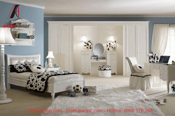 Phòng ngủ chung cư cho bé gái màu trắng đơn giản tính tế