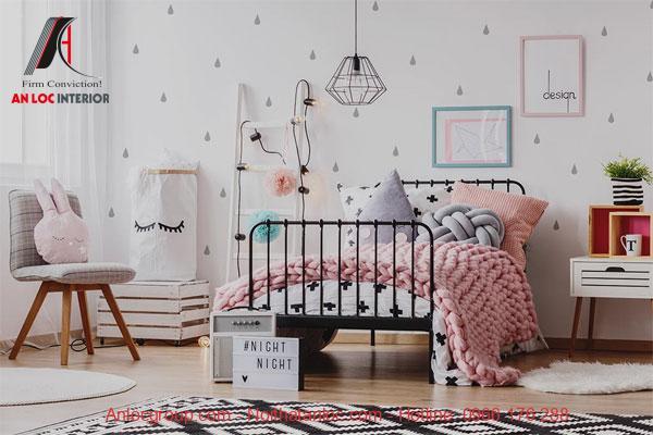 Phòng ngủ cho bé gái với sự kết hợp màu sắc hài hòa
