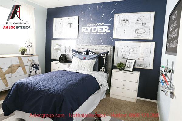 Phòng ngủ chung cho bé trai tiện lợi, trẻ trung