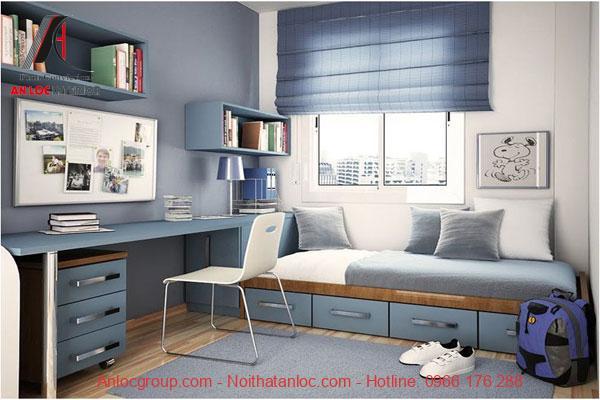 phòng ngủ chung cư cho bé trai với tông màu xanh nhẹ nhàng, xanh mát