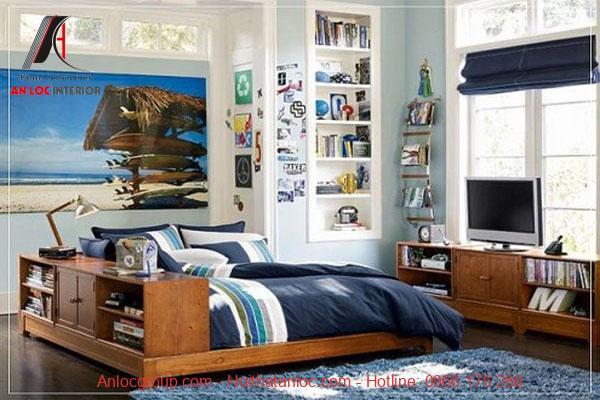 Phòng ngủ cho bé trai sử dụng nội thất gỗ nâu trầm