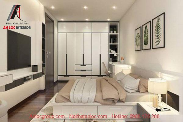 Thiết kế phòng ngủ với tone màu trắng nhẹ nhàng, tinh tế