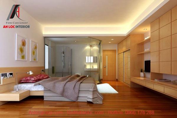 Thiết kế phòng ngủ chung cư màu gỗ nâu