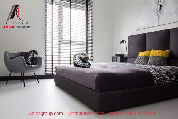 Phòng ngủ màu xám thanh lịch, quý phái