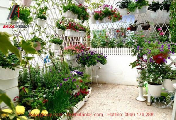 Trang trí ban công căn hộ bằng chậu hoa thoảm mãn đam mê yêu hoa của nhiều gia chủ