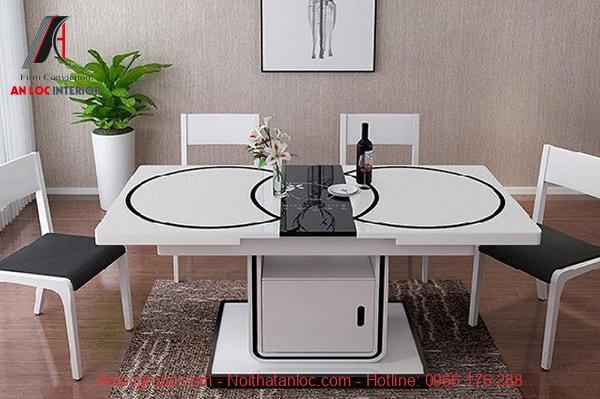 Mẫu 22: Mẫu bàn ghế gấp gọn có bếp từ tạo sự thuận tiện cho gia chủ trong sinh hoạt