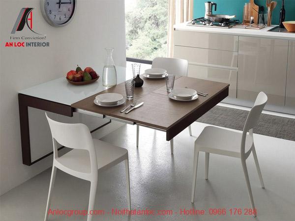 Mẫu 8: Mẫu bàn ăn thông minh gắn tường với thiết kế cao cấp, thời thượng