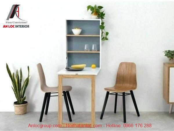 Mẫu 9: Mẫu bàn ăn thông minh treo tường giúp tiết kiệm tối đa diện tích
