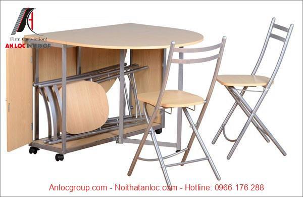 Mẫu 6: Mẫu bàn ăn xếp gọn cao cấp mang đến sự tiên lợi và không gian phòng bếp gọn gàng
