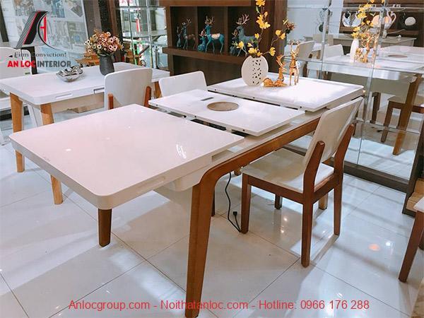 Mẫu 12: Kiẻu bàn ăn thông minh kéo dài cao cấp mang đến không gian sang trọng