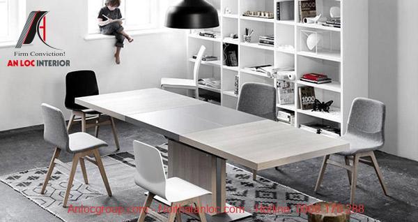 Mẫu 14: Kiẻu dáng của bộ bàn ghế kéo dài tạo điểm nhấn cho căn phòng