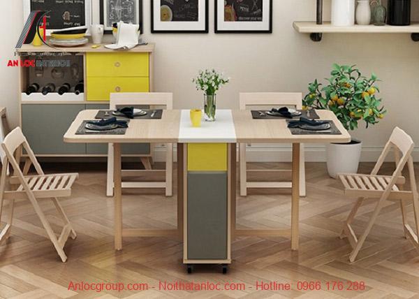 Mẫu 15: Bộ bàn ăn thông minh gỗ sồi được chế tác tỉ mỉ, công phu