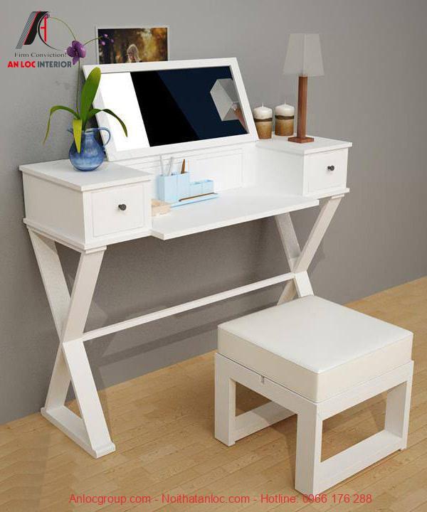 Mô hình bàn làm việc tích hợp bàn trang điểm tạo sự thuận tiện trong sinh hoạt