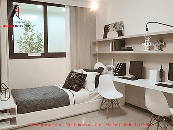 Mẫu bàn làm việc nhỏ gọn được thiết kế hài hòa với tổng thể diện tích