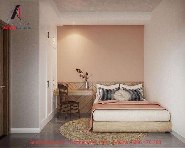 Thiết kế bàn làm việc trong phòng ngủ đơn giản nhưng đảm bảo hài hòa với tổng thể căn phòng