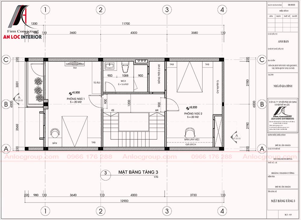 Tầng 3 với 2 phòng ngủ và các không gian chưc snăng phục vụ sinh hoạt