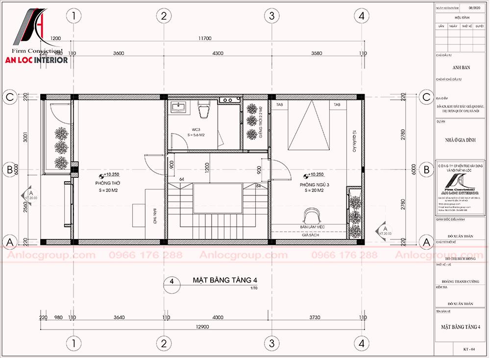 Mặt bằng tầng 4 thiết kế nhà phố 6x12m tại Quốc Oai, Hà Nội