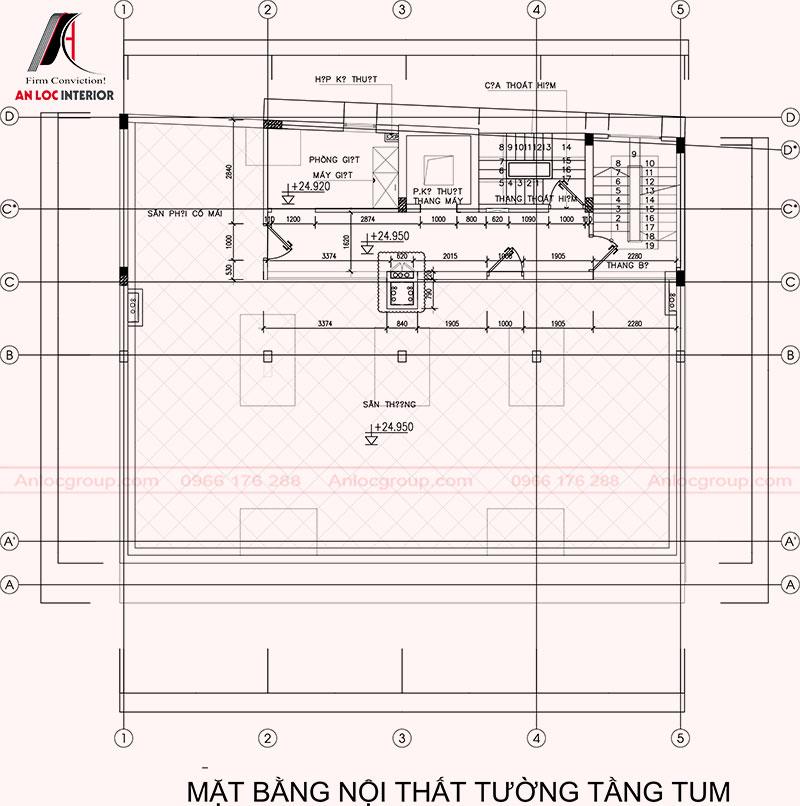 Mặt bằng tầng tum khách sạn Westin Bắc Ninh thiết kế mở nhằm tạo điểm nhấn cho tổng thể kiến trúc