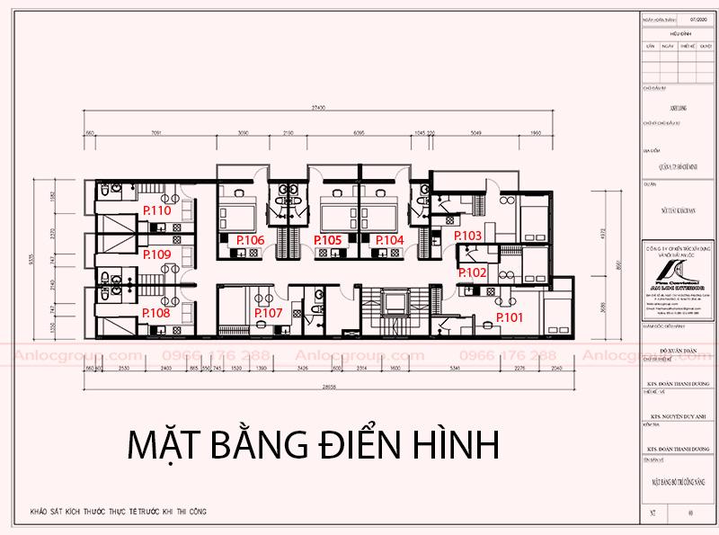 mặt bằng thiết kế khách sạn 5 tầng tại Sài Gòn