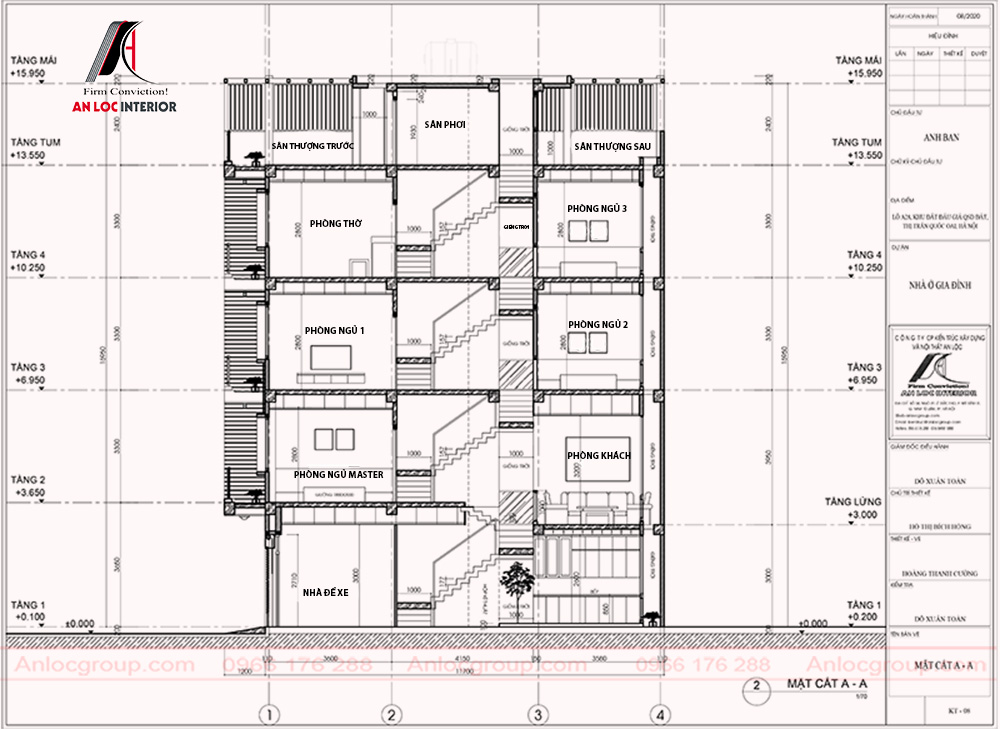 Kích thước các tầng và thông số trong từng không gian được chú thích cụ thể, chi tiết