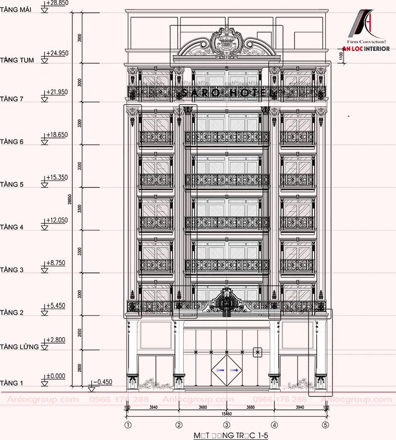 Mặt đứng của tổng thể khách sạn 7 tầng tại Bắc Ninh giúp khách hàng có cái nhìn toàn diện
