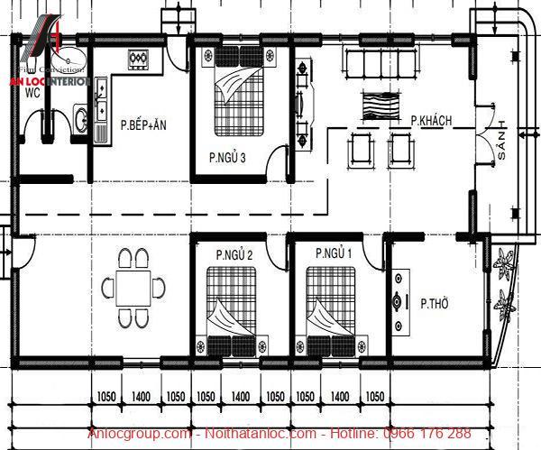 Bản vẽ nhà cấp 4 3 phòng ngủ chi tiết, rõ ràng từng chi tiết