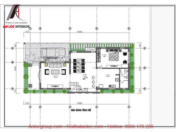 Tầng trệt bố trí 1 phòng ngủ và các phòng chức năng liên quan
