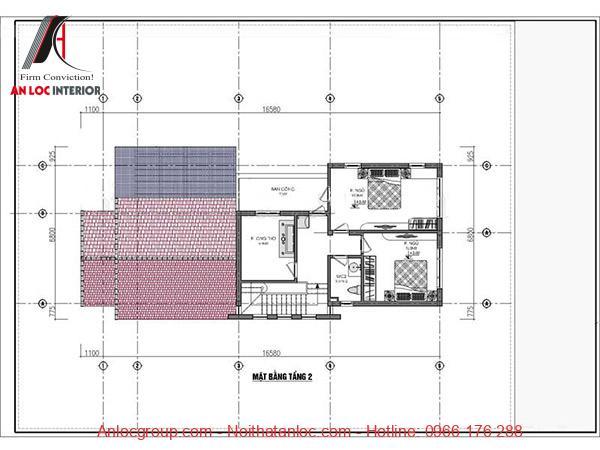 Bản vẽ nhà cấp 4 7x15 3 phòng ngủ với phần gác lửng được bố trí khoa học, mạch lạc