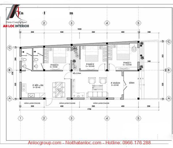 Mẫu nhà cấp 4 đẹp 7x15 được bố trí phòng ngủ tiện nghi, chi tiết