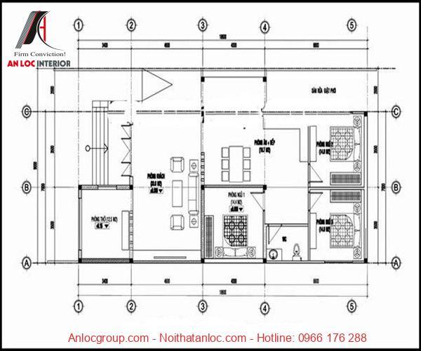 Mẫu nhà cấp 4 7x15 3 phòng ngủ được bố trí cụ thể và chia diện tích thích hợp
