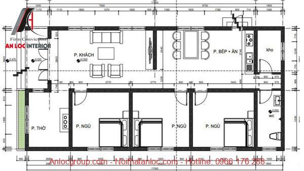 Mẫu nhà 7x15 với 3 phòng ngủ được chú thích cụ thể thông qua bản vẽ chi tiết
