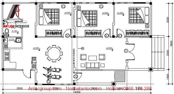 Bản vẽ thiết kế nhà trệt với công năng hiệu quả