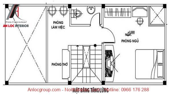 Bản vẽ mẫu nhà cấp 4 có gác lửng 5x12 với các thông số kỹ thuật chi tiết