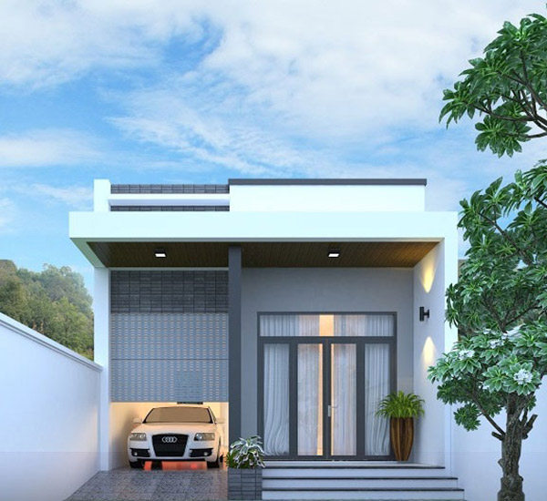 Thiết kế nhà cấp 4 mái bằng đơn giản,, giá rẻ với phần gác lửng được nhiều gia chủ quan tâm