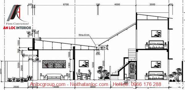 Bản vẽ thiết kế nhà cấp 4 có gác lửng 4x20 đẹp, hiện đại
