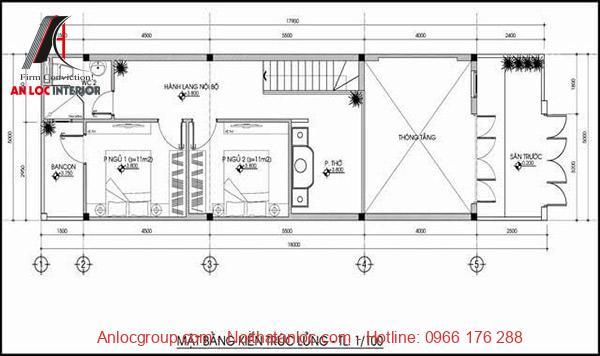Kiến trúc tầng lửng được xếp đặt hài hòa với diện tích quy định