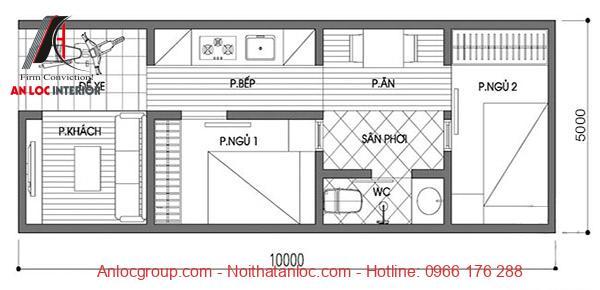 Bản vẽ thiết kế nhà 5x10 đẹp, đơn giản