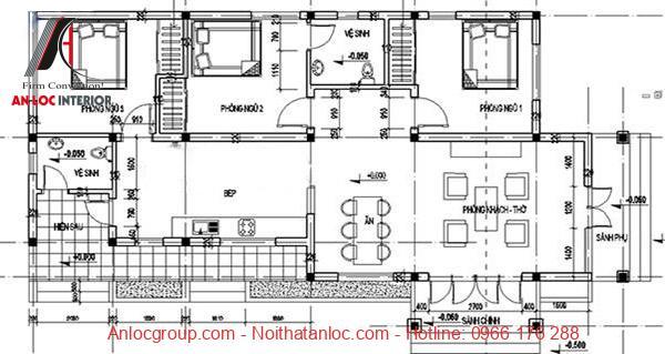 Bản vẽ chi tiết mẫu nhà cấp 4 đẹp 80m2
