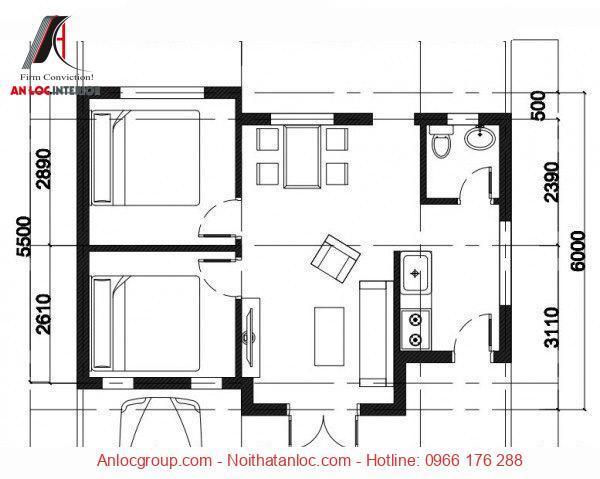 Bản vẽ thiết kế mẫu nhà ngang 6m