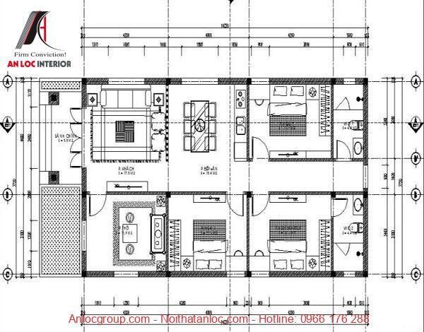 Bản vẽ chi tiết phân chia phòng ngủ trong kiểu nhà cấp 4 hiện đại, đơn giản