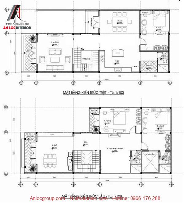 Mẫu thiết kế nhà 2 tầng 6x15m có mặt bằng được phân bổ khoa học