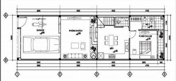 Bản vẽ nhà 2 tầng 6x15 có khu vực gara để xe