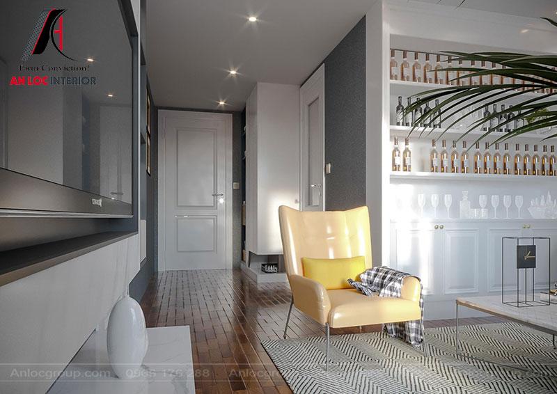 Sofa mini cho phòng ngủ được lựa chọn gam màu nổi bật để tạo điểm nhấn cho căn phòng