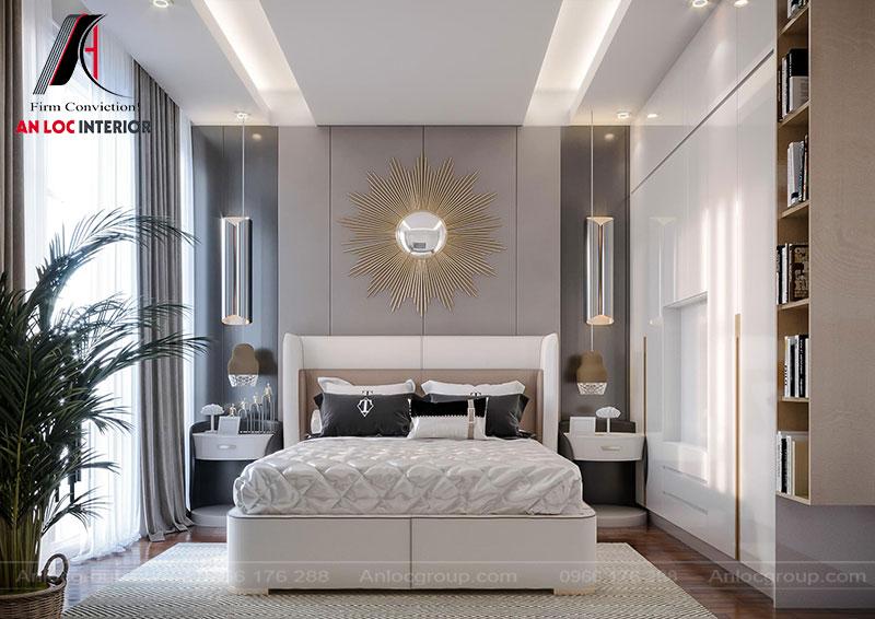 Vật dụng trang trí phòng ngủ được lựa chọn từ chất liệu kim loại nhằm thể hiện đẳng cấp không gian sống