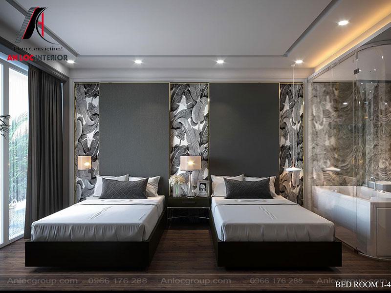 Phòng ngủ với phòng tắm được ngăn cách bằng tấm thủy tính. Cách thiết kế đọc đáo mang đến sự tận hưởng cuộc sống sang trọng