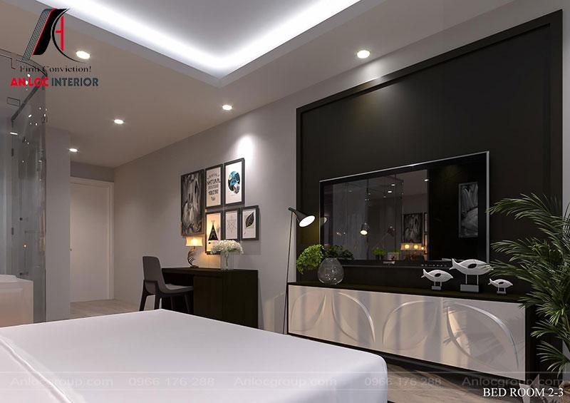Nội thất phòng ngủ bố trí đầy đủ góc ngắm cảnh, bàn làm việc để phục vụ tối đa nhu cầu của du khách