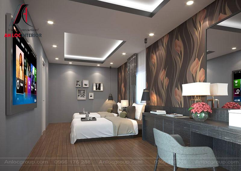 Phòng ngủ được bố trí nội thất đơn giản nhưng phục vụ tốt nhu cầu của du khách