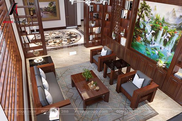 Mẫu 12 - Phòng khách biệt thự phong cách gỗ Việt
