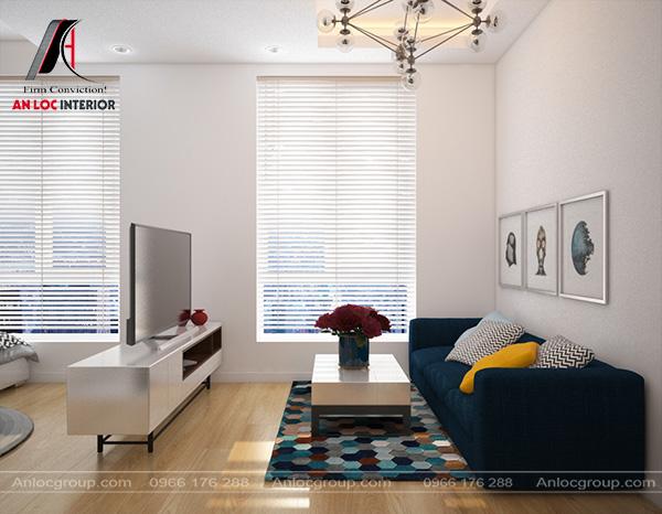 Mẫu 39 - Phòng khách nhỏ hẹp phong cách tối giản