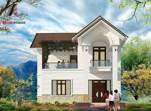 Thiết kế biệt thự 2 tầng mini đẹp với mái thái hợp phong thủy